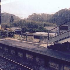 列車擦れ違いのため山あいの駅で3分停車。