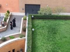霧島神学生の同僚たち。帰院したら、先ず、芝生の向こうのマリア様にただいまのごあいさつ。