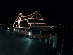 船上ディナーはクルーズ船で。利用者が多いのに驚いた。
