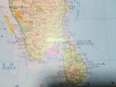 インド南端。赤のマーカーがトゥティコリン。右下はスリランカ。