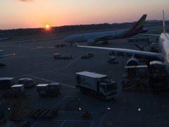 出発遅れで暇になったので。空港の夕日。
