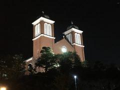 浦上教会の夜景9/19ミサ後撮影