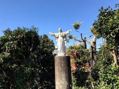 元司教館庭に立つみこころ像。55年前?建立。