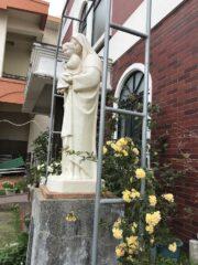 聖母の足元に咲いたモッコウバラ